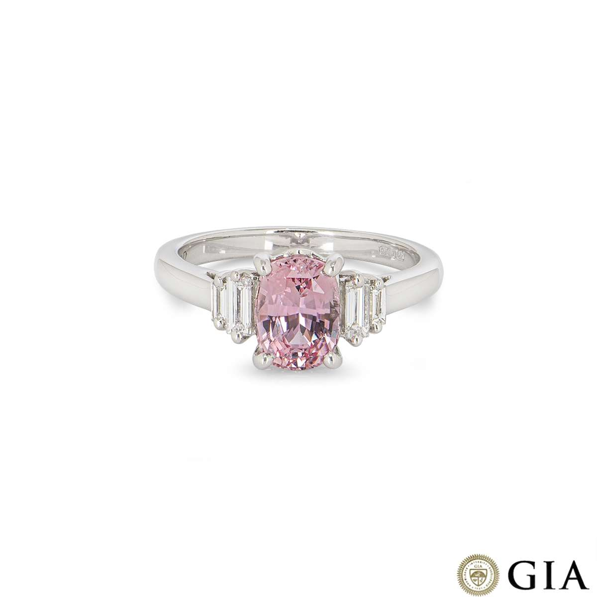 White Gold Padparadscha Pink Sapphire and Diamond Ring